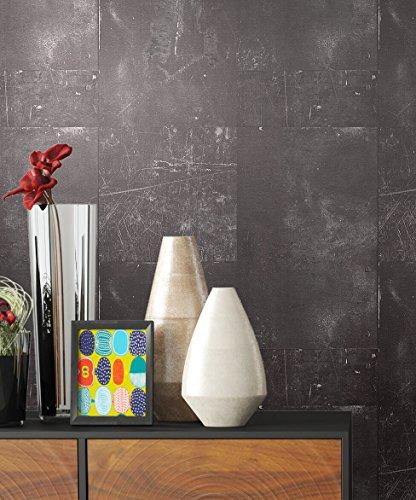 Tapete Metalloptik in Anthrazit | schöne moderne Tapete für Ihr Wohnzimmer | inklusive der Newroom-Tapezier-Profibroschüre mit Tipps für perfekte Wände