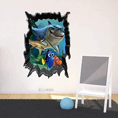 Nicoole Wall Stickers Wall Stickers 3D Stereo Wall Stickers Decals Cartoon Underwater World Shark Children S Room Kindergarten Classroom Classroom Classroom Decoration Wall Stickers