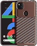 YATWIN Schutzhülle Kompatibel mit Google Pixel 4a Hülle, Anti-Rutsch Stoßfest Kratzfest Technologie Ultra Dünn Handyhülle für Google Pixel 4a 4G [Nicht 5G] Hülle mit Carbon Fiber Textur Design, Braun