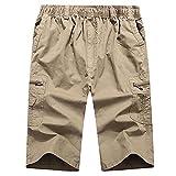 Pantalones Cortos de Hombre Long Shorts Men Cargo Secure Pocket Zipper Bermuda Male Knee Length Elastic Waist Loose Cotton Summer