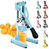 Zulay Professional Citrus Juicer - Manual Citrus Press and Orange Squeezer - Metal Lemon Squeezer - Premium Quality Heavy Duty Manual Orange Juicer and Lime Squeezer Press Stand, Blue