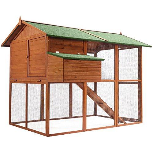 IDMarket - Poulailler volière Duplex XXL en Bois