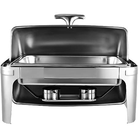 Chauffe-Plats Réchauds en Acier Inoxydable Chafing Dish, Buffet Pleine Grandeur avec Bac à Eau, Bac à Nourriture, Support de Carburant et Couvercle pour Buffet, Mariages, Fêtes(1Pcs-CARRÉE -Flip)