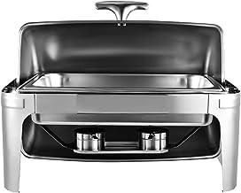 Chauffe-Plats Réchauds en Acier Inoxydable Chafing Dish, Buffet Pleine Grandeur avec Bac à Eau, Bac à Nourriture, Support ...