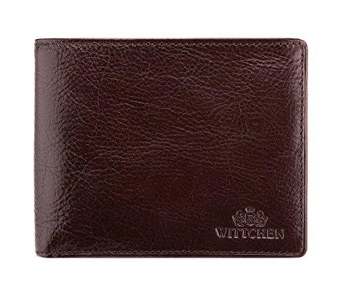 WITTCHEN Geldbörse aus Rindsleder | Kollektion: Italy | mit Druckknopfverschluss | aus hochwertigen Materialien | elegant und klassisch | Dunkelbraun | 12.5x10 cm