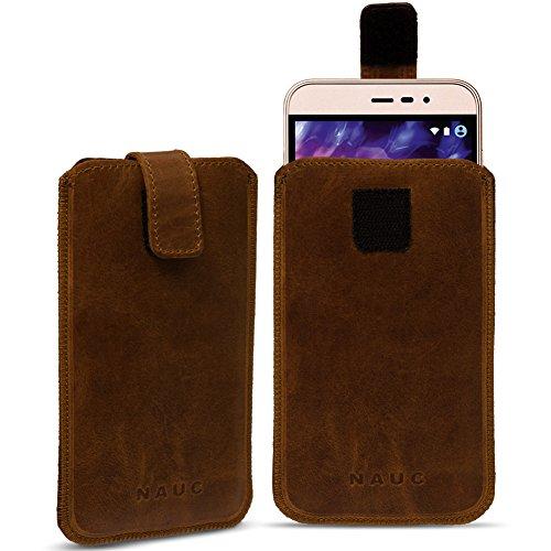 Leder Tasche für Medion Life E5006 E5005 Handy Hülle Cover Pull Tab Lederhülle, Farbe:dunkel Braun