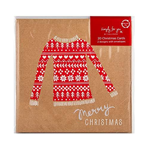 Hallmark 20 tarjetas de Navidad Simply for You, diseño de jersey festivo y calcetines