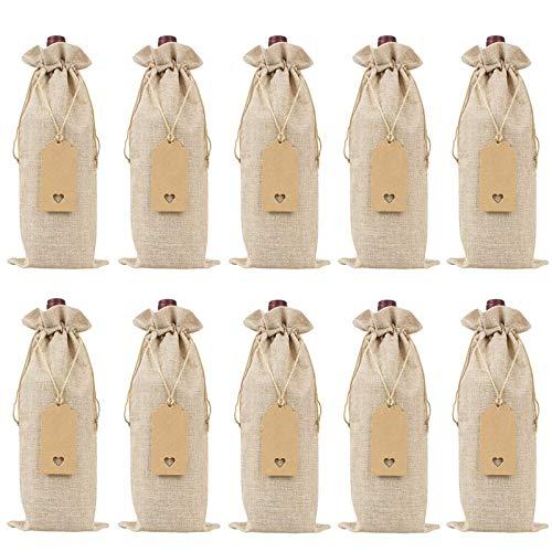 Avmy Bolsas de Vino, Fundas para Botellas de Vino Reutilizables con Cuerdas y Etiquetas,Bolsas de Regalo dearpillera paraVino con Cordones, (10 Piezas)