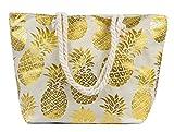 Leisureland Large Beach Tote Bag, Faux Linen Top Zipper Boat Bag (Gold Pineapple)