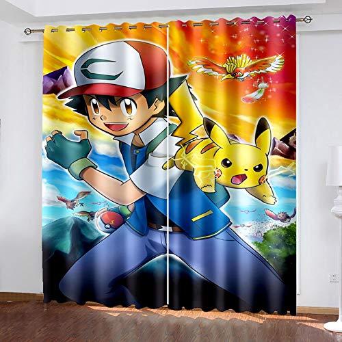 Ssghio Occultant Rideaux pour Chambre Enfants, Pokémon 3D NuméRique Impression Rideaux, Termica Isolante Perforés Rideaux pour Enfants, 150x166cm