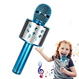 Microfono Karaoke, 4 in 1 Microfono Bluetooth Wireless Palmare, Microfono bambini Portatile con Altoparlante, Home Party Speaker Bluetooth Portatile, Compatibile con Android/IOS/PC/Smartphone