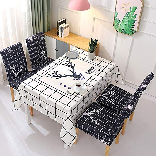 WJDHSG Mantel Elegante,Manteles y Fundas para sillas Paño de Escritorio Rectangular Mantel a Prueba de Agua Cubierta de Mesa de Comedor Cubiertas detoallitas de Dibujos Animados deMesa de té, a