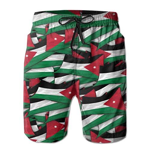 DLing Badeshorts für Herren Schnelltrocknende Badehose Jordan Flag Wave Collage Herren-Badeanzüge,L