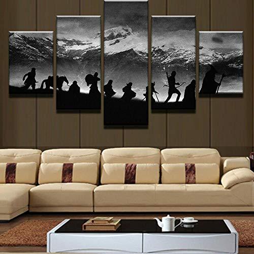 Canvas Wall Art,Silueta de becas de escena de película,Material Tejido Impresión,Impresión En Hd,Imagen Modular,decoración del hogar,5 Piezas 150x80cm,Con Marco