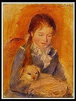 DIY 数字によるペイント 大人 子供用 ペイント 数字による DIY 絵画 アクリルペイント キット 自宅 壁 リビングルーム 寝室 - ピエールオーギュストルノワール—犬のいる少女