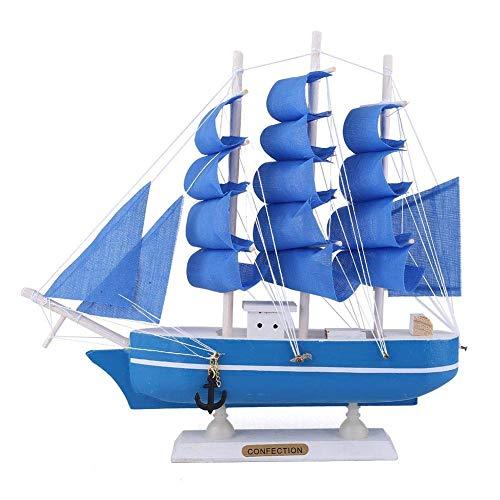 WMY Decoración Modelo de Barco de Vela, Ornamento de Madera en Miniatura de velero de 24 cm de Alto para decoración de Mesa de Oficina en casa (Azul)