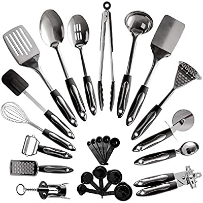 25-Piece Stainless Steel Kitchen Utensil Set | Non-Stick Cooking Gadgets and Tools Kit | Durable Dishwasher-Safe Cookware Set | Kitchenware Gift Idea, Best New Apartment Essentials from