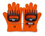 BBQ Gloves, Meat Claws and Digital Instant Read BBQ Thermometer (3 pc set) - Heat Resistant/Silicone Gloves - BBQ Grilling Tool Accessories Make The Perfect Gift!