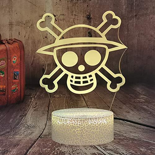 Anime One Piece Logo - Luz nocturna LED para niños, sensor táctil, colorida, luz nocturna para niños, decoración de escritorio, lámpara 3D, ambiente para mesita de noche, lámpara USB, juguete de