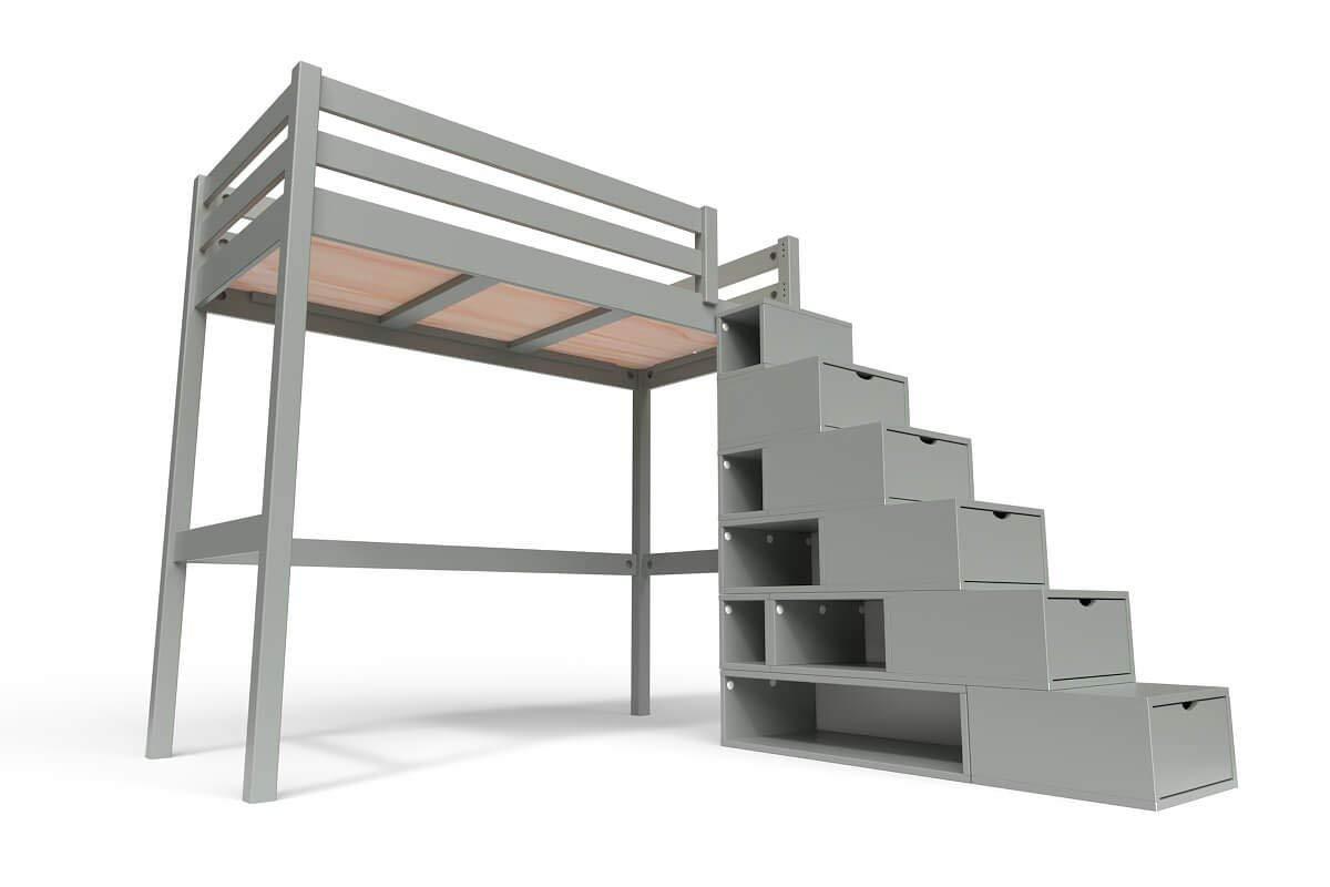 ABC MEUBLES - Cama Alta Sylvia con Escalera Cubo - Cube - Gris, 90x200: Amazon.es: Hogar