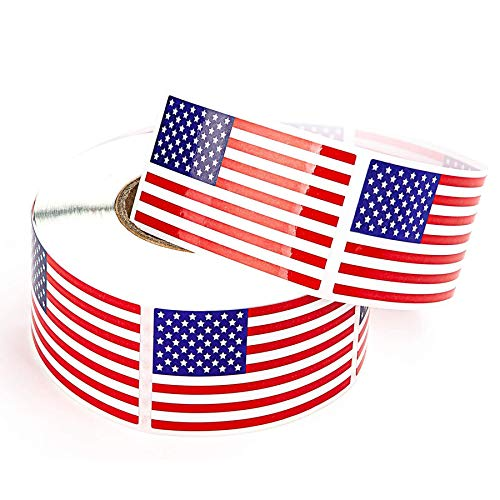 D-buy 500 PCS American Flag Patriotic Stickers on a Roll, Self Adhesive Patriotic USA Flag Stickers Party Decorations for 4th of July Independence Day Decorations
