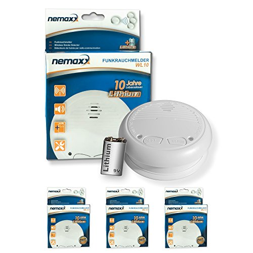 3x Nemaxx WL10 Funkrauchmelder - mit 10 Jahre Lithium Batterie Rauchmelder Feuermelder Set Funk...