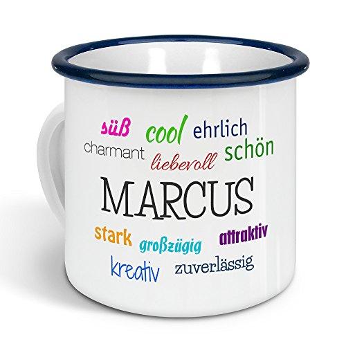 printplanet - Emaille-Tasse mit Namen Marcus - Metallbecher mit Design Positive Eigenschaften - Nostalgie-Becher, Camping-Tasse, Blechtasse, Farbe Blau, 300ml