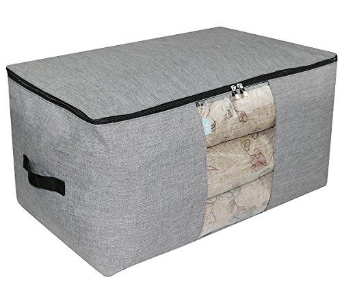 iwill CREATE PRO 91L Jumbo-Größe Polyester Aufbewahrungs-Organizer-Tasche, Haushalts-Aufbewahrungsbehälter für Schrank & Regale. Bettdecken, Decken, Kissen, Bettdecken, Hellgrau