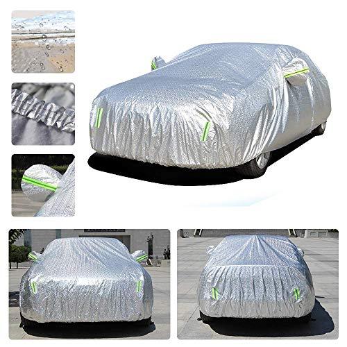Dinuoda Autoabdeckung für Volkswagen Golf 7, Vollgarage wasserdicht, atmungsaktiv, Regen, Schnee, Staub, Sonne, UV-Schutz, Allwetterschutz, Aluminiumfolie, 435 x 180 x 160 cm