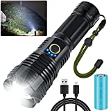 Led Rechargeable Flashlights High Lumens, 90000 Lumens Super Bright Flashlight, XHP70.2 Zoomable & IP55 Waterproof Brightest Tactical Flashlights for Emergencies, Camping (Battery Included) (p70.2s)