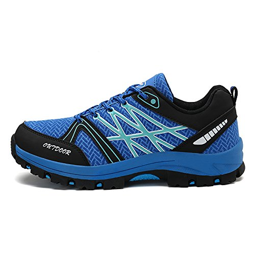 Men Breathable mesh Sports Shoes,Anti Slip and Wearable Travel Shoes,Lightweight Cross-Country Hiking Shoes (9.5, Blue)