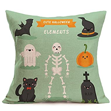 Clearance! Pillowcase,Canserin 2017 Beautiful Happy Halloween Printed Pillow Cases Linen Sofa Cushion Cover Home Decor 18 x18  (D)