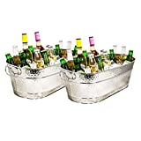 BREKX Colt Stainless-Steel Hammered Beverage Tubs, Ice and Drink Bucket for Parties, 15 Quarts, Set...