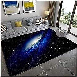 KFEKDT 3D Blue Planet Starry Sky Carpet Velvet Living Room Bedroom Large Rugs Children's Room Soft Sofa Parlor Carpet A1 80x120cm