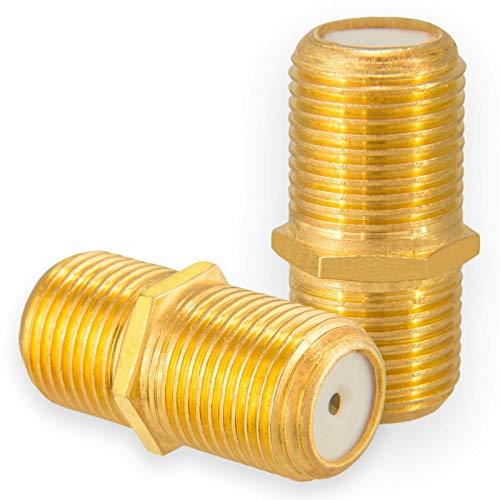 2X F-Verbinder Buchse/Buchse Vergoldet HQ für F-Stecker jeder Größe 4-8,2mm für Koaxial Antennenkabel Sat Kabel BK Anlagen