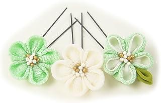 [楽市きもの館] つまみ細工簪 かんざし 梅の花Uピン グリーン×白