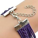 ZODRQ Women Mens Bracelet,Infinity Owl Pearl Friendship Multilayer Charm Leather Bracelets Gift(Purple)