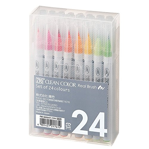 Kuretake Zig Manga Clean Color Real Brush - 24 Color Set