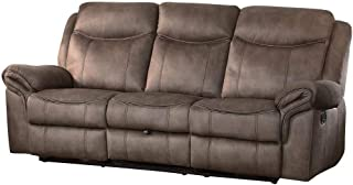 Apollo Double Reclining Sofa with Center Cup Holders in Airehyde Dark Brown Leather