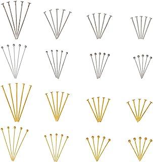 Pandahall 1600Pcs/Box Brass Ball Head Pins & Iron Flat Head Pins Set Golden & Platinum Eye Pins for Beading Jewelry Making