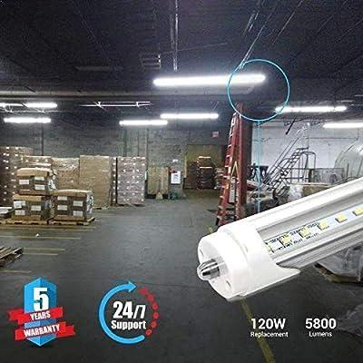 8ft LED Tube 48W 5800 lumens Single Pin Clear