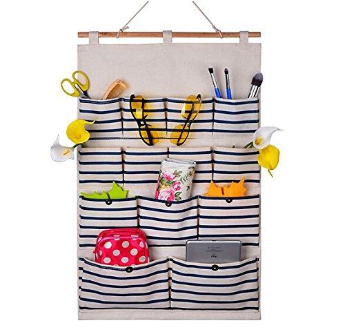 AKDSteel Home-Cube® linnen/katoenweefsel 13 zakken wanddeur kast hangende bewaarzak Organizer, witte stippen/navy strepen (donkerblauwe strepen)