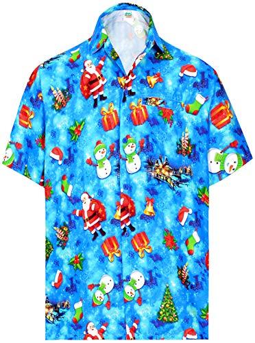 LA LEELA Mens Funky Hawaiian Christmas Santa Claus Casual Shirts 5XL Blue_AA333