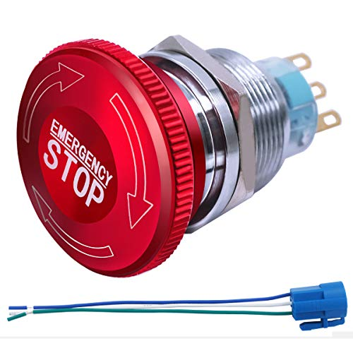 mxuteuk 22mm Stainless Steel Metal Latching Emergency Stop Push Button Switch with Connection Plug 12-220V 3A 1NO 1NC,2 Years Warranty MXU-DT-CT