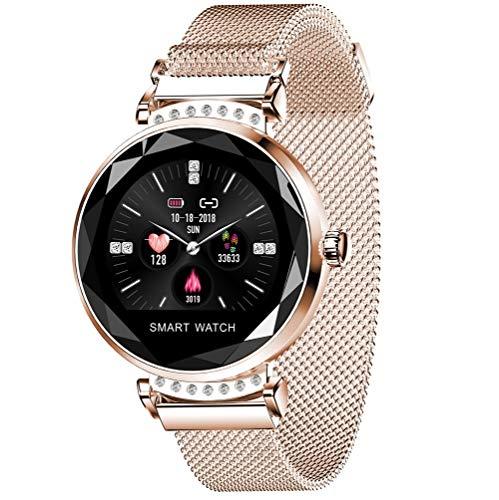 XMYL Fitness Activity Tracker,Sport Smart Watch mit Pulsmesser, IP67 wasserdichte Fitnessuhr, Faul Dekoration Uhr mit Magnet,für Samsung Huawei Android IOS Smartphone,Gold