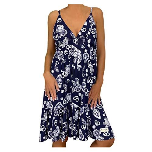 Tallas Grandes, Vestidos de Espagueti Mujer Verano 2020 Casual, Dragon868 Vestidos Cortosde Fiesta para Playa,Sin Respaldo, Cuello En V, Estampado Floral, Vestido de Vendaje Suelto, S-5XL