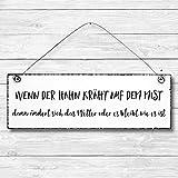 Wenn der Hahn kräht - Dekoschild Türschild Wandschild aus Holz 10x30cm - Holzdeko Holzbild Deko Schild
