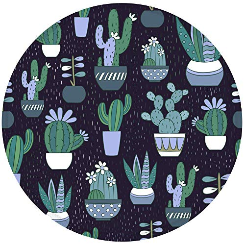 Mouse Pad Blue Cactus Pattern Mousepad Non-Slip Rubber Base Mousepad with Stitched Edge Gaming Round Mouse Pads for Computers Laptop 7.87 x 7.87 Inch