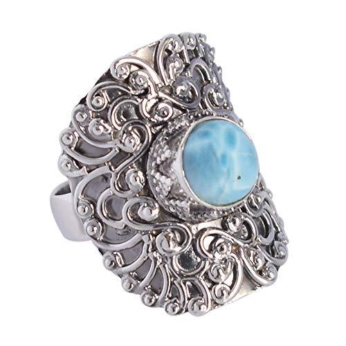 Anillo de plata de ley 925 maciza con piedra de larimar azul cielo marino del Caribe natural, anillo ajustable, regalo para esposa, hecho a mano FSJ-4126
