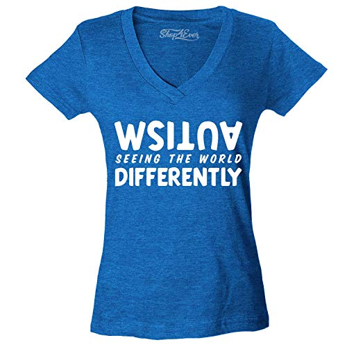 shop4ever Autism Seeing The World Differently Women's V-Neck T-Shirt Small Heather Royal Blue0